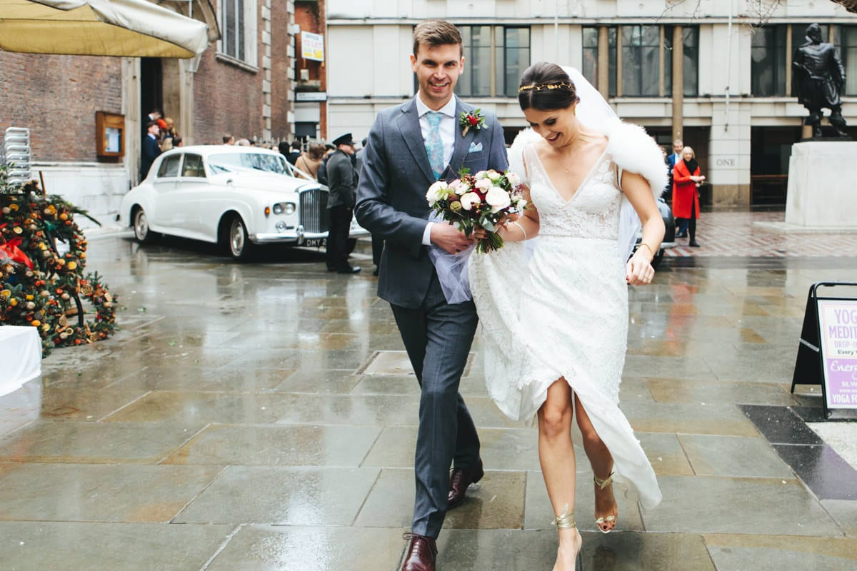 winter wedding at St Mary-le-Bow Church London